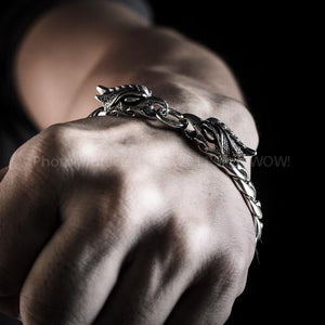 Eagle Head Mens Silver Bracelet Hand