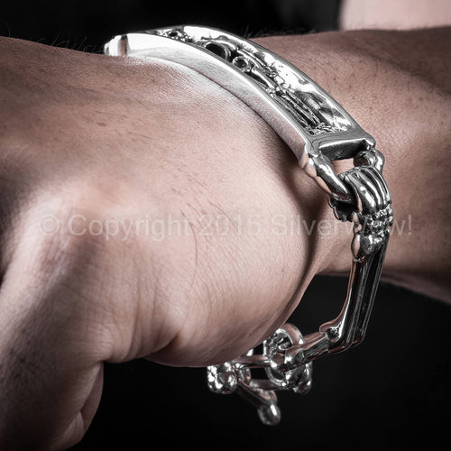 Skeleton, Skull Bracelet with Toggle Clasp. Skeleton in Coffin, Casket