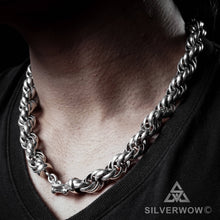 Chunky, Rope Chain Mens Necklace, Sterling silver