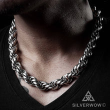 Heavy Mens Rope Chain Necklace, 15mm Wide, silver