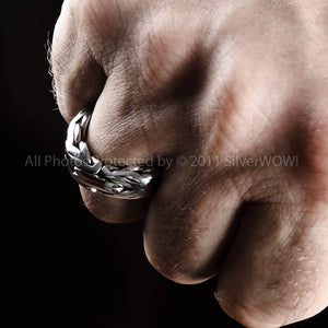 Byzantine Bali Heavy Mens Ring - 925 Sterling Silver