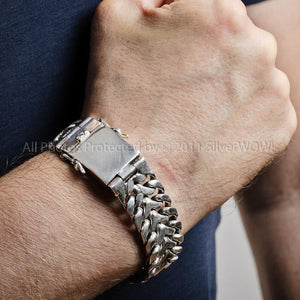 Herringbone Unique Mens Silver Bracelet - 20mm Version. Solid Sterling Silver