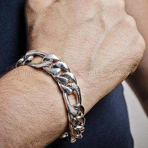 Mens Figaro Bracelet - 15mm - 925 Sterling Silver