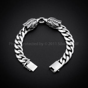 Eagle Head Mens Silver Bracelet