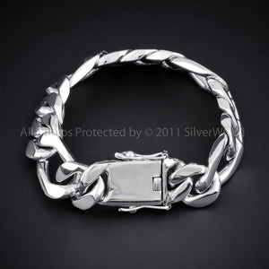 Mens silver, Figaro Bracelet, 15mm wide, flat box lock