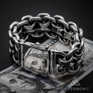 Figure 8, Mens Chunky Silver Bracelet, $ bill, box lock