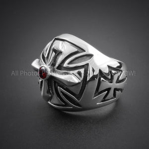 Silver Iron Cross Ring