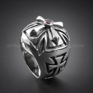Iron Cross Biker Silver Ring for Men