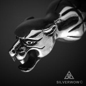 Panther Head Leather with Silver Clasp