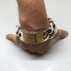 35mm Mens Silver ID Bracelet