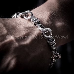 Barbed Wire Bracelet Sterling Silver hook clasp