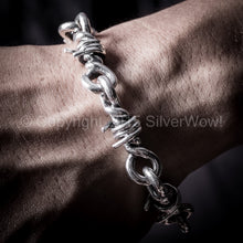 Barb Wire Mens Silver Bracelet hook clasp