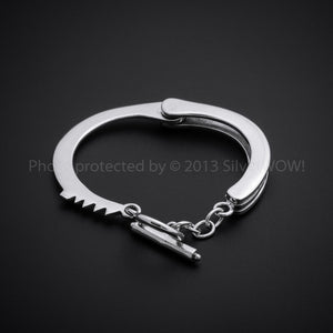 Handcuffs Bracelet - Real HandCuff Look - 925 Solid Sterling Silver.