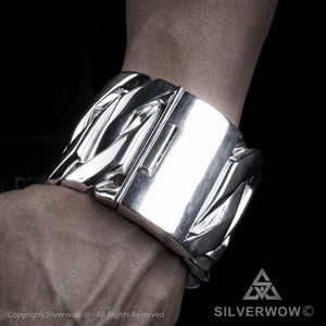 Monster, Huge, Mens Silver Bracelet x 60mm Wide ! - 2019