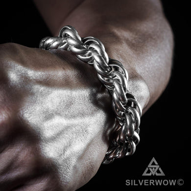 Heavy Mens Silver Rope Chain Bracelet