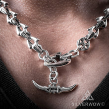 Shark Mens Toggle Necklace, silver t bar chain