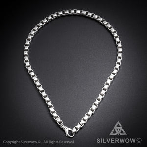 8mm Box Chain Silver Necklace