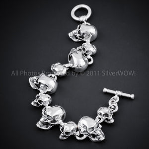 Silver Skull Bracelet - Big Small Skull Mix Toggle Clasp