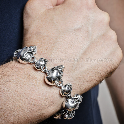 Silver Skull Bracelet - Big Small Skull Mix