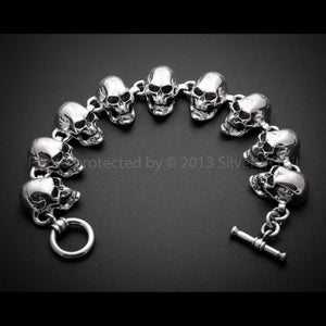 Skulls Bracelet - All Big Skulls T Bar Clasp