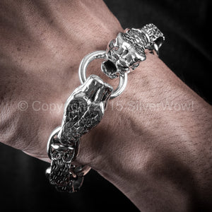 Snake Head Bracelet With Skull Toggle Clasp