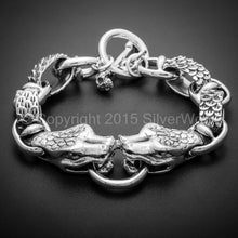 Snake Head Mens Bracelet With Skull T-Bar Clasp