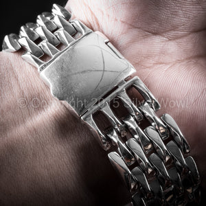 20mm Wide Mens Spike Silver Bracelet