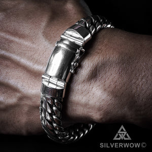 Woven Snake Silver Mens Bracelet 15mm, round box lock