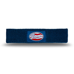 Old Guys Rule, navy blue headband, sweatband with born in the usa label.