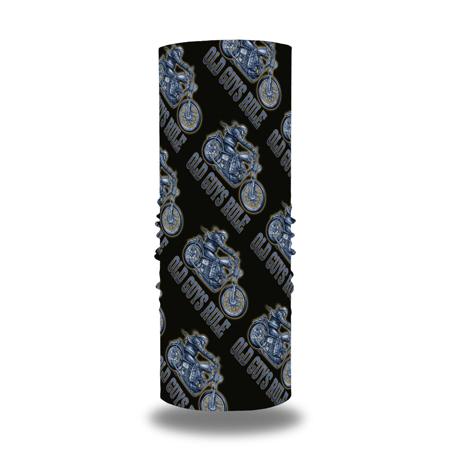 Old Guys Rule black neckwarmer, gaiter with glowing blue, motorcycle rider artwork.