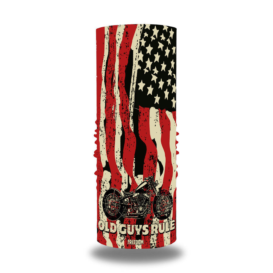 Old Guys Rule, blue and white and black neck, gaiter, neckwear, bandana, mask with an american flag and motorcycle artwork.