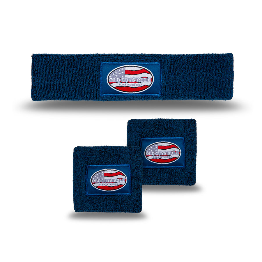 Old Guys Rule navy blue headband, wristband, sweatband combo pack, born in the usa.
