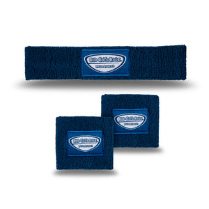 Old Guys Rule navy blue headband, wristband, sweatband combo pack, living legend..