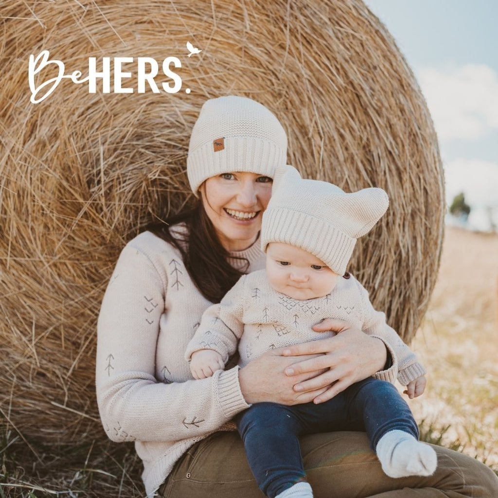 Wild Island Co matching windswept pullovers mama and baby knitted jumpers supporting be hers