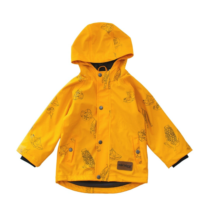 Front flay lay of kids raincoat. Mustard yellow Wild Island waterproof jacket for boys and girls.