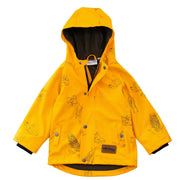 Front flat lay of Wild Island kids printed raincoat. Mustard yellow rain jacket with Australian seed pods print