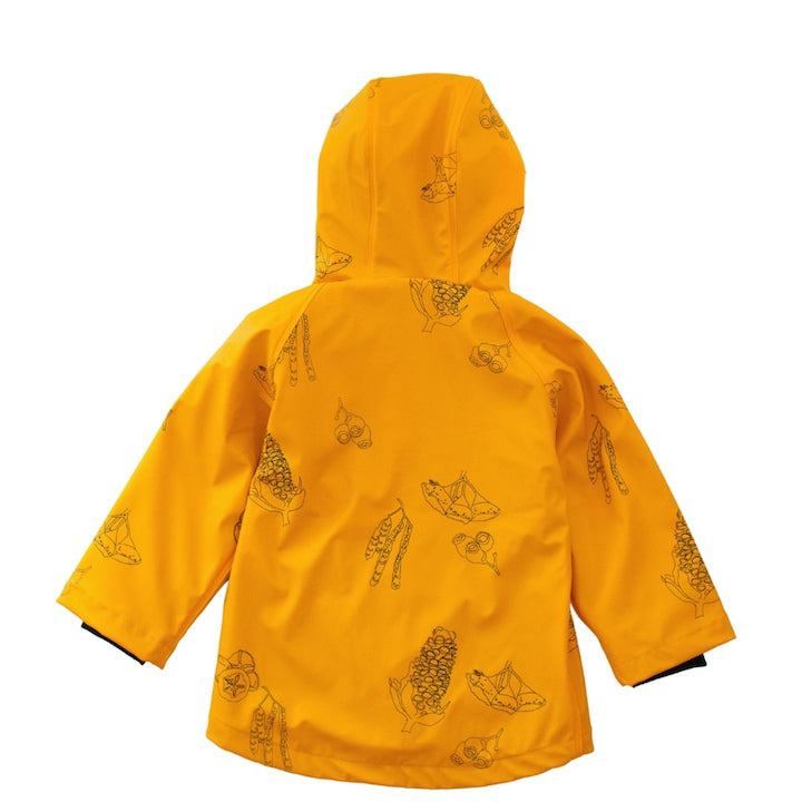 Back flat lay of kids rainwear. Wild Island mustard yellow rain coat with Australian seed pods print