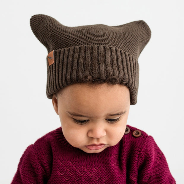 The Thylacine Beanie | Walnut Brown | Knitted Baby Beanie