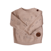 Baby Windswept Pullover in Wild Oat, an oatmeal blush pink tone knitted jumper for summer adventures and twinning with a new baby - perfect gift for a new mama