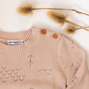 Adult Windswept Pullover in Wild Oat, an oatmeal blush pink tone knitted jumper for summer adventures and twinning with a new baby - perfect gift for a new mama
