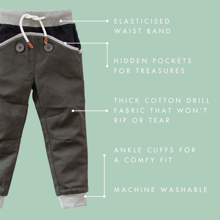 Wild Island Co Kids Discoverer Pants for girls + boys, Wild Island, dark grey (1-8Y) Kids and Adults Quality Clothing Designed in Tasmania Australia 4