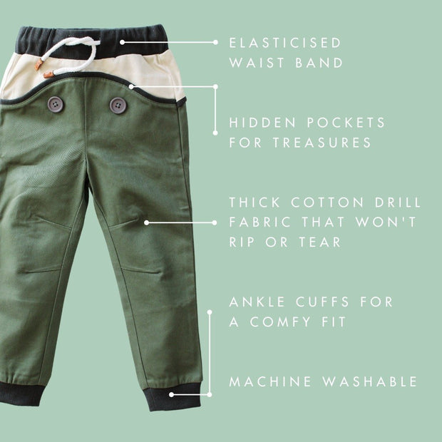 Wild Island Co Discoverer Kids Pants for girls + boys, Wild Island, sage green (1-8Y) Kids and Adults Quality Clothing Designed in Tasmania Australia 4