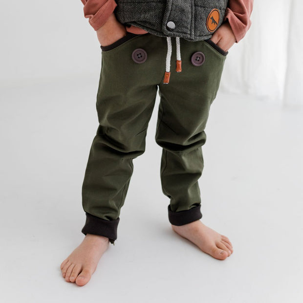 Wild Island Co Discoverer Kids Pants for girls + boys, Wild Island, sage green (1-8Y) Kids and Adults Quality Clothing Designed in Tasmania Australia 6