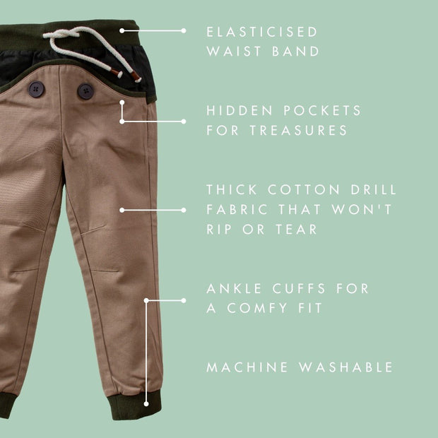 Wild Island Co Discoverer Kids Pants for girls + boys, Wild Island, sand/khaki (1-8Y) Kids and Adults Quality Clothing Designed in Tasmania Australia 4