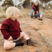 Wild Island Co Knitted Kids jumper for boys + girls, Wild Island, Burgundy Red (1-8Y) Kids and Adults Quality Clothing Designed in Tasmania Australia 12