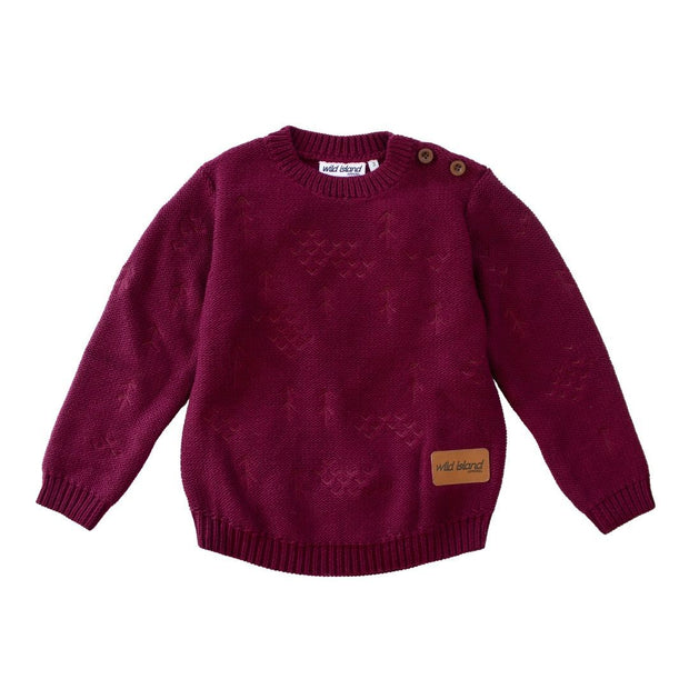 Wild Island Co Knitted Kids jumper for boys + girls, Wild Island, Burgundy Red (1-8Y) Kids and Adults Quality Clothing Designed in Tasmania Australia 2