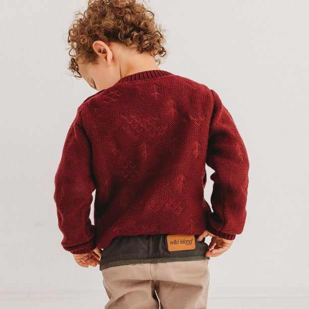 Wild Island Co Knitted Kids jumper for boys + girls, Wild Island, Burgundy Red (1-8Y) Kids and Adults Quality Clothing Designed in Tasmania Australia 5