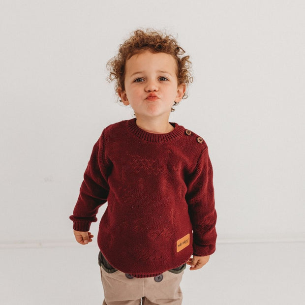 Wild Island Co Knitted Kids jumper for boys + girls, Wild Island, Burgundy Red (1-8Y) Kids and Adults Quality Clothing Designed in Tasmania Australia 1