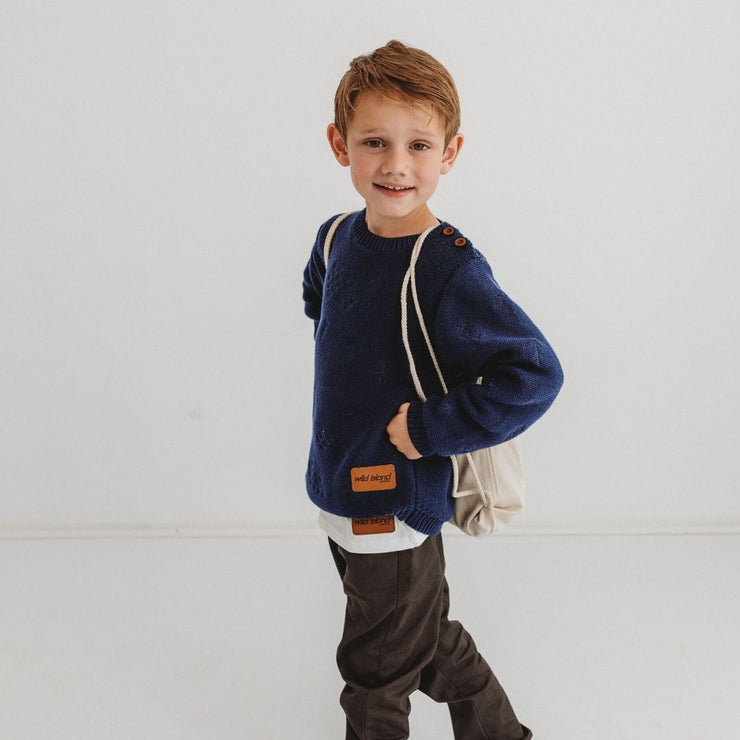 Wild Island Co Knitted Kids jumper for boys + girls, Wild Island, Navy Blue (1-8Y) Kids and Adults Quality Clothing Designed in Tasmania Australia 14