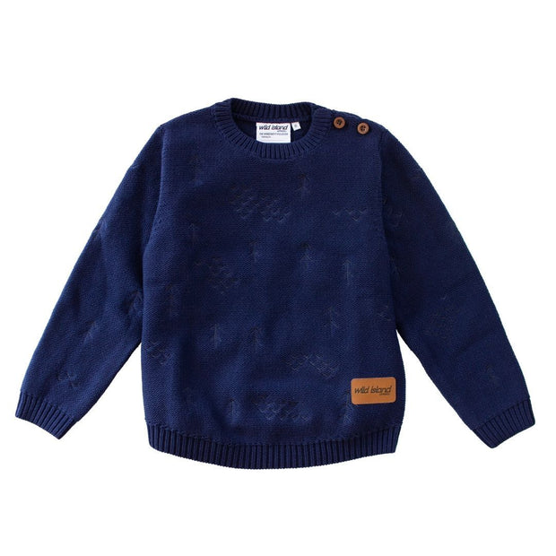 Wild Island Co Knitted Kids jumper for boys + girls, Wild Island, Navy Blue (1-8Y) Kids and Adults Quality Clothing Designed in Tasmania Australia 2